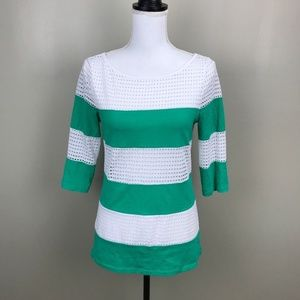 Ann Taylor Sz M White Green Laser Cut Top